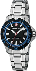 Wenger Women's Sea Force Series of Watches Black Dial, Blue Highlights, All Stainless Steel Case & Bracelet (0621.104)