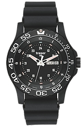 Traser P66 Elite Red Tactical Military Watch with Red Tritium Dual Case Design Exceeds MIL-G Regulations, Sapphire Crystal, Rubber Dive Strap (100378)