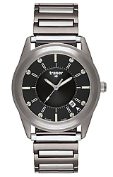Traser Translucent Classic Tritium Illuminated Watch Amazing Nighttime Visibility, Black Dial, Expansion Steel Bracelet (102346)