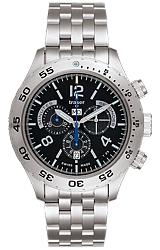Traser Classic Elegance Chronograph Tritium Watch Black Dial, Blue Tritium, Stainless Steel Bracelet (105034)