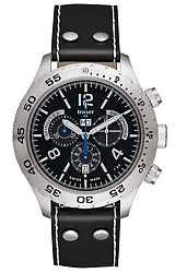 Traser Classic Elegance Chronograph Tritium Watch Black Dial, Blue Tritium, Aviator Leather Strap (105035)