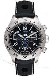 Traser Classic Elegance Chronograph Tritium Watch Black Dial, Blue Tritium, Master Silicone Strap with Stitching (105036)