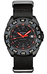 Traser Red Alert T100 Tritium Watches T100 Tritium Illuminated Bezel and Dial, Black PVD Case, NATO Nylon Band (106469)
