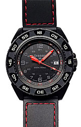 Traser Red Alert T100 Tritium Watches T100 Tritium Illuminated Bezel and Dial, Black PVD Case, Red Stitched Rubber Strap (106470)