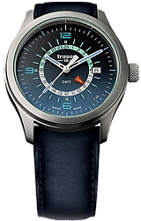 Traser P59 Aurora Pilot's GMT Watch with Tritium Illumination and a True 24 Dial Gradient Blue Dial, Stainless Steel Case, Leather Strap (107035)