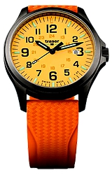 Traser P67 Officer Pro GunMetal Glowing Dial Watches Orange Lumibrite Glowing Dial, Gunmetal finish Steel Case, Orange Dive Strap (107423)