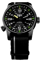 Traser P68 Pathfinder Tritium Enhanced Swiss Automatic Watches with Compass Bezel 'Black Hole' Black Sunray Dial, Black Nylon Strap with Gray Accent Stripe (107718)