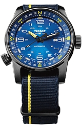 Traser P68 Pathfinder Tritium Enhanced Swiss Automatic Watches with Compass Bezel Midnight Blue Sunray Dial, Nylon Strap with Matching Accent Stripe (107719)