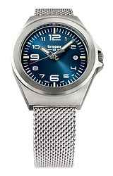Traser P59 Essential S Blue Mid-Size Tritium Watches Blue Dial, Stainless Steel Case and Steel Milanese Bracelet (108203)
