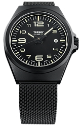 Traser P59 Essential Black Collections, S Series & M Series, Tritium Watches Larger Size Essential M, Black Steel Watch, Black Dial, Black Milanese Steel Bracelet (108206)