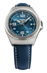 Traser P59 Essential S Blue Mid-Size Tritium Watches Blue Dial, Steel Case, Blue Padded and Stitched Leather Strap (108208)