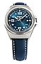 Traser P59 Essential S Blue Mid-Size Tritium Watches Blue Dial, Steel Case, Blue Padded and Stitched Leather Strap