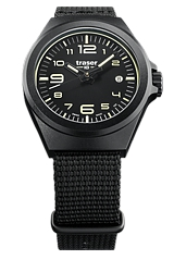 Traser P59 Essential Black Collections, S Series & M Series, Tritium Watches Smaller Size Essential S, Black Case, Black Dial, Black Nylon Strap (108212)