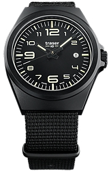 Traser P59 Essential Black Collections, S Series & M Series, Tritium Watches Larger Size Essential M, Black Steel Watch, Black Dial, Black Nylon Strap (108218)