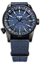 Traser P68 Pathfinder GMT Tritium Watch Series with Dual Time and Compass Bezel Soft Blue Dial, Black PVD Steel Case and Blue Nylon Strap