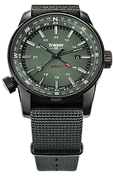 Traser P68 Pathfinder GMT Tritium Watch Series with Dual Time and Compass Bezel Moss Green Dial, Black PVD Steel Case and Green Nylon Strap (109035)