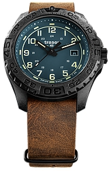 Traser P96 OdP Evolution Tritium Tactical Watch, Petrol Dial, Leather NATO Strap