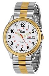 Speidel Railroad Wrist Watches Two-tone Steel, White Railroad Dial, 24 Hour Subdial, Day & Date, Twist-o-Flex Band (60333916)