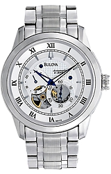 Bulova 21 Jewel Men's Automatic Mini-Complication - BVA Series 120 Watches White Dial, Stainless Steel Case & Bracelet (96A118)