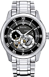 Bulova 21 Jewel Men's Automatic Mini-Complication - BVA Series 120 Watches Black Dial, Stainless Steel Case & Bracelet (96A119)