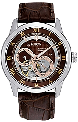 Bulova 21 Jewel Men's Automatic Mini-Complication - BVA Series 120 Watches Steel Case, Rose Goldtone Highlights, Brown Dial, Leather Strap (96A120)