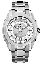 Bulova Precisionist Watches, Longwood Collection Silver Dial, All Stainless Steel Case & Bracelet (96B130)