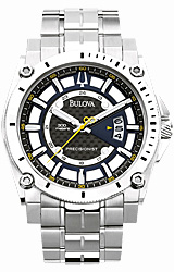 Bulova Precisionist - Champlain Collection Black Carbon-Fiber Dial with Yellow Accents, SS Bracelet (96B131)