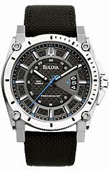Bulova Precisionist - Champlain Collection Black Carbon-Fiber Dial with Blue Accents, Titanium with Ballistic Strap (96B132)