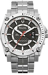 Bulova Precisionist - Champlain Collection Black Carbon-Fiber Dial with Red Accents, Titanium Case and Bracelet (96B133)