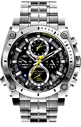 Bulova Precisionist Chronographs Black Dial with Blue and Yellow Highlights, Steel Case & Bracelet (96B175)