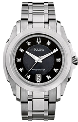 Bulova Precisionist Watches, Longwood Collection 10 Diamonds, Black Dial, Stainless Steel Case & Bracelet (96D110)