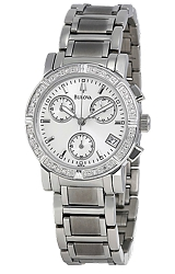 Bulova Ladies Diamond Chronograph Watch White Dial, Stainless Steel Case & Bracelet (96R19)