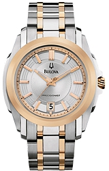 Bulova Precisionist Watches, Longwood Collection Rose Goldtone Highlights on a Silvertone Dial, Rose Goldtone & Stainless Steel Case & Bracelet  (98B141)