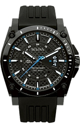 Bulova Precisionist - Champlain Collection Black Carbon-Fiber Dial with Blue Accents, PVD Case with Rubber Strap (98B142)