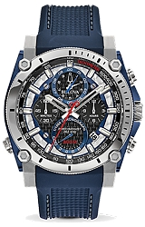 Bulova Precisionist Chronographs Carbon Fiber and Blue Dial with Blue Stitched Dive Strap (98B315)