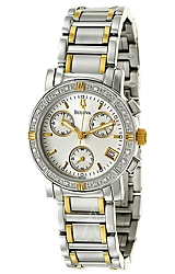 Bulova Ladies Diamond Chronograph Watch White Dial,  Two Tone Steel Case & Bracelet (98R98)