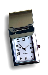 Gemday Money Clip Watch Rectangle Shaped White Dial with Roman Numerals, Hinged Silvertone Clip  (A-93-8782)