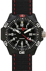 ArmourLite Caliber Series Black Dial, White Numerals with Red accent Nato Band (AL603)