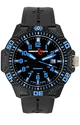 ArmourLite Caliber Series Black Dial, Blue Numerals and Hands, Nitrile Butadiene Rubber (NBR) Band (AL611)
