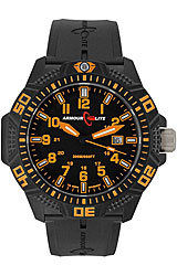 ArmourLite Caliber Series Black Dial, Orange Numerals and Hands, Nitrile Butadiene Rubber (NBR) Band (AL612)