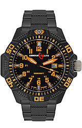 ArmourLite Caliber Series Black Dial, Orange Numerals with Black PVD Stainless Steel Bracelet (AL622)