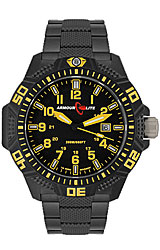 ArmourLite Caliber Series, Tritium Illuminated Military Watches Black Dial, Yellow Numerals with Black PVD Stainless Steel Bracelet (AL624)