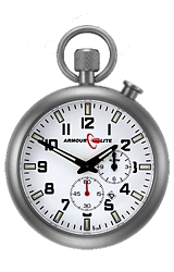 ArmourLite Tritium Illuminated Pocket Watch with Alarm White Dial, Built-in Night Stand, Sapphire Crystal and Stainless Steel Case (ALPW01)