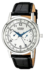 Citizen Classic Men's Dress Eco-Drive  Watches White Dial, Stainless Steel Case, Black Leather Strap (AO9000-06B)