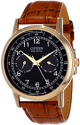 Citizen Classic Men's Dress Eco-Drive  Watches Rose Goldtone Steel Case, Black Dial, Tan Leather Strap (AO9003-08E)