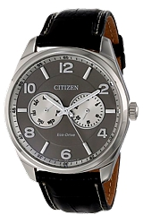 Citizen Classic Men's Dress Eco-Drive  Watches Stainless Steel Case, Grey and White Dial, Black Leather Strap (AO9020-17H)