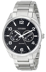 Citizen Classic Men's Dress Eco-Drive  Watches Black Dial, Stainless Steel Case & Bracelet (AO9020-84E)