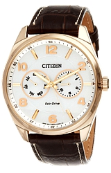 Citizen Classic Men's Dress Eco-Drive  Watches Rose goldtone Steel Case, White Dial with rose goldtone highlights, brown leather strap (AO9023-01A)