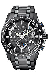 Citizen Perpetual Chrono A-T Black Dial, Black PVD Stainless Steel Bracelet (AT4007-54E)