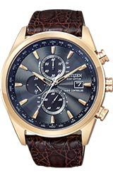 Citizen World Chronograph A-T Rose Gold Tone Stainless Steel with Brown Genuine Crocodile Band (AT8013-17E)